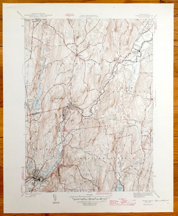 Antique Ware Massachusetts US Geological Survey - Ware massachusetts us map