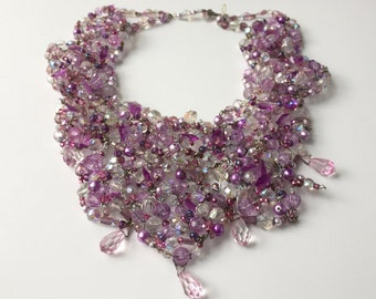 Pink and Lilac Crystal Necklace