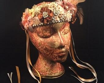 Unique BoHo Chic Crown Headpiece Wedding Festival Fascinator Headdress Headband Flapper Roaring Twenties Gatsby