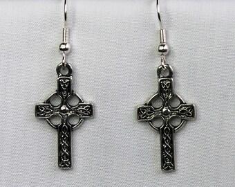 Celtic cross, drop earrings in antique silver finish (Code ESP019)
