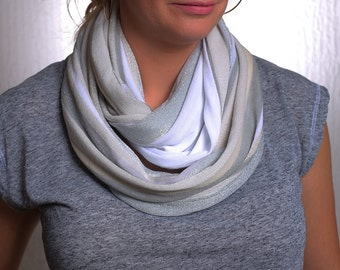 White and Grey Jersey Infinity Scarf