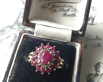 Vintage 9K gold ruby and diamond cluster ring