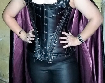 Ladies Leather Steel Boned Corset