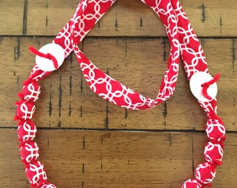 Red fabric long necklace - button yarn