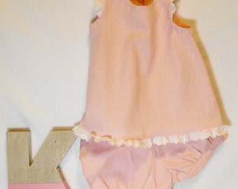 Pink baby bloomers and shirt