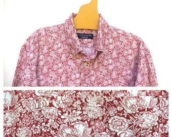 Cacharel Liberty XXL XL Dark Pink Carmin Floral French Vintage Shirt
