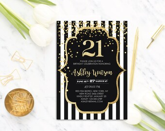 Black Stripes Invite Etsy - 21st birthday invitations gold coast