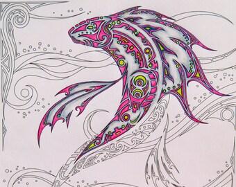 Adult coloring page,  Koi, fish, Pisces, instant download, printable, digital stamp, fantasy