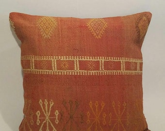 Antique Turkish Kilim Pillow Cover - Hand Embroidered - 16x16 inch FREE SHIPPING US