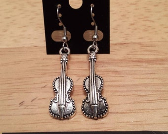 Earring ear/violin music instrument Necklace / Earring/Necklace violin music silver color