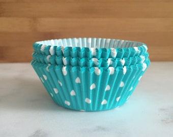 Aqua & White Polka Dot Cupcake Liners, Standard Sized, Baking Cups (50)
