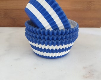 Rugby Stripe Blue Cupcake Liners, Standard Sized, Stay Bright Baking Cups (50)