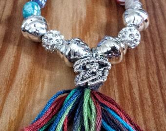 Day of the Dead Bracelet, Day of the Dead Jewelry,  Calavera Catrina Bracelet, Sugar Skull Bracelet, Mexican Bracelet, Tassel Bracelet