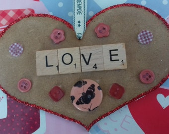Handmade 'Love' Scrabble Heart