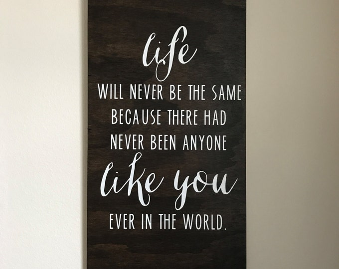 Life Will Never Be The Same | Wood Sign