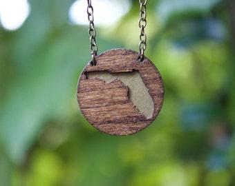 "Florida Necklace - Brass Backing - 16"" Antique Brass Chain - Florida Jewelry - State Necklace - State Jewelry - Florida Pride"