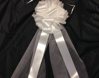 12 Luxury Church Pew Bows with White Organza Tails