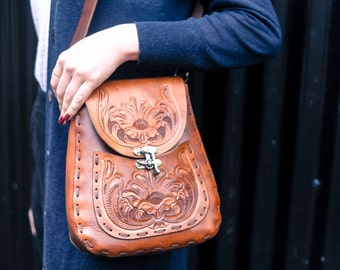 The Seeker  - Hand Carved Leather Handbag