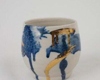 Blue & Gold Vase Lg