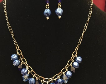 Royal Blue Bead Necklace Set