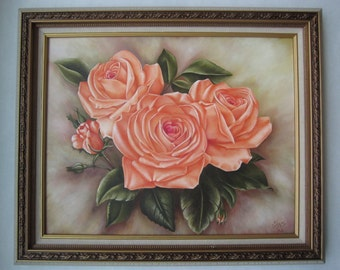 Original acrylic painting on canvas Pink Roses Flower with frame