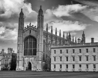 Kings College Chapel Photograph,  University of Cambridge, black and white photograph, canvas or framed print