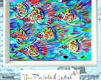 Fish Art Print, Abstract Fish Art, Fish Painting, Kids' Room Wall Art, Coastal Wall Art, Baby's Room Wall Art, Coastal Art Print