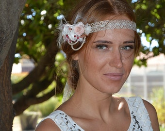Preserved flowers headband Colette for your wedding - bridal hairstyle