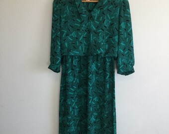Vintage 1980's green black dress flower small medium