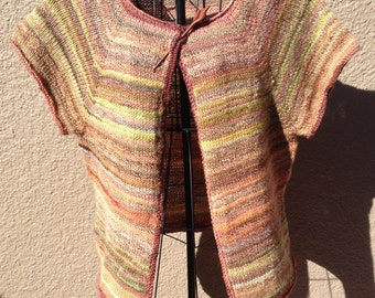hand knit with handspun yarns- open front Cardigan- short sleeve - fall colors