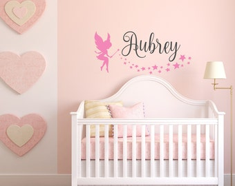 Personalized Name Wall Decals For Girls Room   Custom Wall Decals Stickers    Baby Girl Tinkerbell