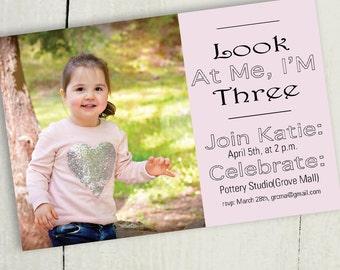 Personalized Creative Birthday Invitation, Three Years Old! Digital Download, Custom, Print at Home