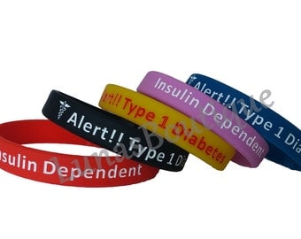 Type 1 Diabetes Medical Alert Wristband ~ Insulin Warning ~ Bracelets For Diabetics ~ Saves Lives!  Choose 1, 5, or 10 Wristbands
