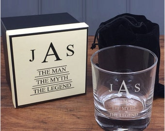 Personalised Engraved Whisky Tumbler - 'The Man, The Myth, The Legend' Design with Matching Gift Box
