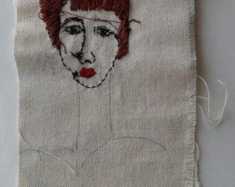 Modigliani inspired lady with brown hair and red pout / embroidery / stitched drawing / portrait in thread /
