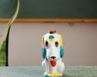 1930s Dismal Desmond toothbrush holder . vintage porcelain bisque dog, made in Japan . small dog jug with cork . anthropomorphic dog