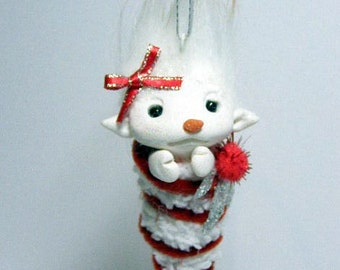 OOAK Cuddly Candy Cane Snowgirl Troll Baby Ornament by Amber Matthies