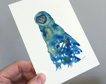 Original Owl Art - No. 82 - Watercolor Illustration owl in blue and green alien owl - affordable art - OOAK