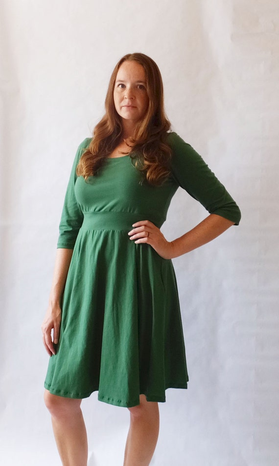 Emerald Holiday Dress Womens Green Party Dress Cotton jersey 3/4 sleeve swing dress Christmas dress longsleeve fit and flare - Made to Order