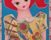 Art - Original canvas - DAPHNE - canvas cutie - 6x12 inch