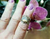 Boho Mermaid Ring with gorgeous iridescent glass shell stone adjustable statement -midi- handmade