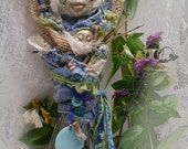 Trendy Kitchen Witch,  Assemblage Shabby Chic Decor, Denim Lace and Burlap, OOAK ART DOLL