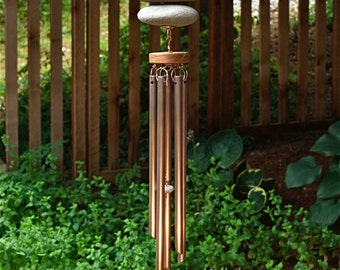 Wind Chime Beach Stone and Copper Outdoor Large Windchimes