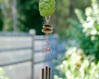 Wind Chime Beach Stones Stained Glass, Sea Glass, Copper