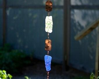 Wind Chime Blue Green Sea Glass Copper Windchime Stained Glass Suncatcher