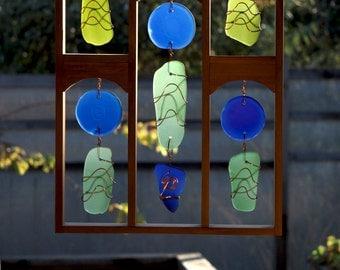 Sun Catcher Sea Glass Large Framed Suncatcher beach glass stained glass