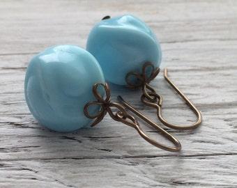 blue beaded earrings, beaded dangle earrings, beaded drop earrings, vintage beaded earrings, blue beads on brass ear hooks