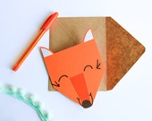 ferdi the friendly fox *FOREST FRIENDS* orange fox blank greeting card – baby shower card - Orange Fox Card