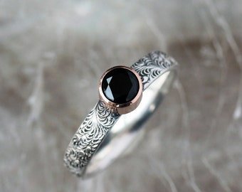 Black Onyx Ring, 14k Rose Gold, Scroll Pattern Sterling Silver Band, Black Gem Ring, Oxidized Finish, Statement Ring, Handmade Jewelry