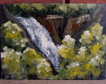 Waterfall Painting, Park, Cliffs, Fence, Trees, Original Painting, Small painting, Winjimir, Waterfalls, Landscape Painting, Home, Office